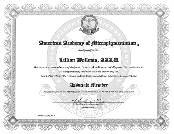 Permanent Make-Up Micropigmentation Certificate